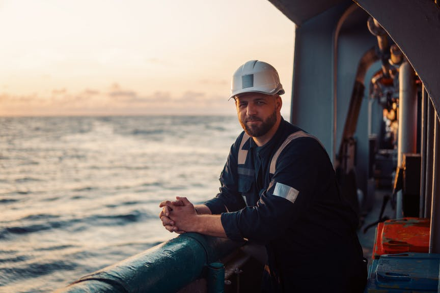 Marine Deck Officer on deck of offshore vessel shutterstock_1573853056