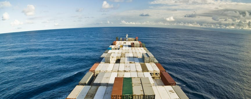 large container vessel ship and the horizon_shutterstock_34500259