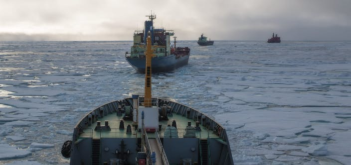 Nuclear-powered,Icebreaker,Is,Conducting,A,Convoy,Along,The,Northern,Sea